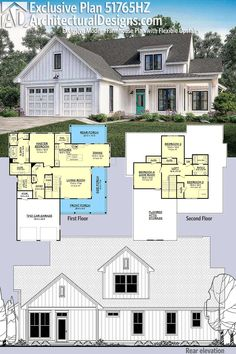 Introducing Architectural Designs Exclusive House Plan This modern farmhouse gives you 4 bedrooms (or 3 Game Room) and has a board and batten exterior with a wraparound porch.Over square feet of heated living space. 6 Bedroom House Plans, Basement House Plans, House Floor Plans, Simple Floor Plans, Garage House, The Plan, How To Plan, Modern Farmhouse Exterior, Farmhouse Ideas