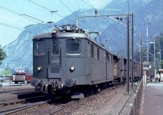 SBB Ae Electric Locomotive, Local freight on the Gotthard line at Flueelen Uri in Switzerland Railroad Pictures, Swiss Railways, Trains, Train Art, Electric Train, Rolling Stock, Electric Locomotive, Switzerland, Transportation