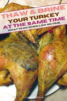 Learn all about thawing and brining a turkey at the exact same time. A great option if your turkey is still frozen and you don't have time to brine it before cooking. Turkey Brine, Cooking Turkey, Have Time, Good Food, Frozen, Canning, Recipes, Ripped Recipes