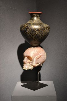 Abmeyer + Wood William  Morris SKULL WITH URN   Blown and Hot-Sculpted Glass, with Steel Stand   2001