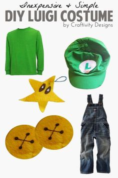 How to make a simple and inexpensive DIY Luigi Costume for Halloween, including the hat, classic Mario overalls, and a power-up star. Mario Halloween Costumes, Inexpensive Halloween Costumes, Toad Costume, Super Mario Costumes, Mario And Luigi Costume, Game Costumes, Family Costumes, Diy Costumes, Costume Ideas