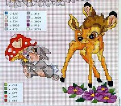 Bambi and Thumper graph pattern Disney Cross Stitch Patterns, Cross Stitch For Kids, Cross Stitch Baby, Cross Patterns, Cross Stitch Animals, Cross Stitch Charts, Cross Stitch Designs, Embroidery Patterns, Disney Stitch