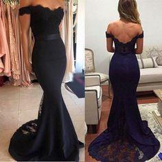 Popular Black Mermaid/Trumpet Off-shoulder Lace Sweep Train Prom Dress Evening Dress Wedding Party Dress