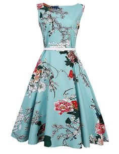 """This is a beautiful vintage inspired blue floral swing look dress. This is a tea length dress made from 100% nylon. It is a one piece dress, A-Line fashion, zipper in back, and includes a belted waist.    Available in sizes Medium, Large and Extra Large with the following measurements:    Medium:  Bust 34.32""""  Waist 29.64""""  Dress Length 40.56""""    Large:  Bust 36.27""""  Waist 31.59""""  Dress Length"""" 40.95""""    XLarge:  Bust 38.22""""  Waist 33.54""""  Dress Length 41.23""""    This item is only available…"""