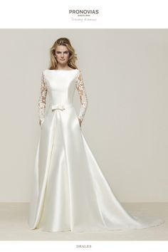 9bede7c93a Drales  Elegant mermaid wedding dress in Mikado with long sleeves and  tattoo effect back - Pronovias