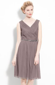 This was another dress we looked at.  Donna Morgan Belted Ruched Chiffon Dress | Nordstrom
