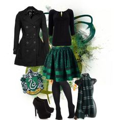 "I saw this skirt and thought ""Slytherin!"" so I made this set!! #harrypotter #slytherin"