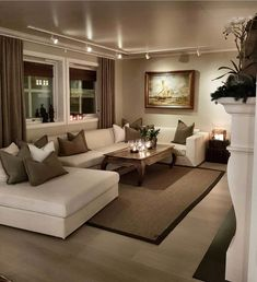 Cozy Small Living Room Decor Ideas For Your Apartment - .- Cozy Small Living Room Decor Ideas For Your Apartment – Home – Source by interiorrsde - Beige Living Rooms, Cozy Living Rooms, Home Living Room, Apartment Living, Interior Design Living Room, Classy Living Room, Living Area, Track Lights Living Room, Living Room Brown
