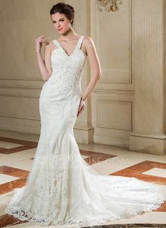 Wedding Dresses - $215.99 - Mermaid V-neck Court Train Organza Wedding Dress With Ruffle Lace Beadwork Sequins (002000582) http://jjshouse.com/Mermaid-V-Neck-Court-Train-Organza-Wedding-Dress-With-Ruffle-Lace-Beadwork-Sequins-002000582-g582