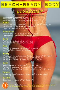 Summer is almost here! Try this workout to help sculpt your sexiest beach-body ever! FitBodyHQ.com for printable version & exercise videos.