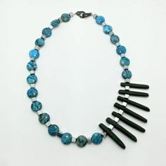 Blue asymetric necklace with agate Agate, Beaded Necklace, Blue, Accessories, Jewelry, Beaded Collar, Jewlery, Pearl Necklace, Jewerly