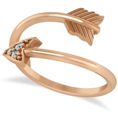 Allurez Cupid's Arrow Ring Diamond Accented 14k Rose Gold (0.05ct) ($525) ❤ liked on Polyvore featuring jewelry, rings, rose, rose jewelry, rose gold jewelry, 14 karat gold ring, round cut diamond rings and feather ring