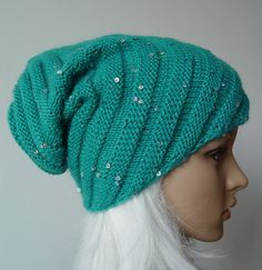 Knitted Green Lagoon Snail Hat, Beanie sparkly warm hat, sequins