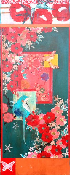 "Kathe Fraga Art: ""Beautiful Dream"", inspired by the romance of vintage silky kimonos and Chinoiserie with a modern twist. One of a pair on frescoed canvas, 40x16. www.kathefraga.com"