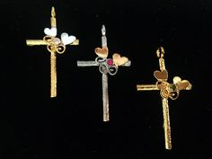 Yellow Gold Cross Iosif with & a gemstone. Ruby Sapphire, Peridot, Amethyst, Pink And Gold, White Gold, Cross Jewelry, Gold Cross, Crosses, Quartz