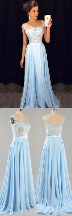 Elegant A line Prom Dress,Blue Graduation Dress,Blue Lace Prom Party Gown