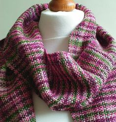Green and Pink Handwoven Scarf by SarahandTheMoon on Etsy, £50.00