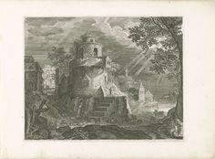 Roelant Savery | Toren aan de rand van een dorp, Roelant Savery, 1597 - 1629 | Een grote toren aan de rand van een dorp, nabij de oever van een rivier. Reizigers op de rechtervoorgrond. De laatste prent van een vierdelige reeks met landschappen in Bohemen