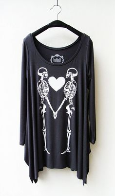 Couple Skeleton - Women Asymmetric Long Top/ Tunic Long Sleeves in Dark Grey