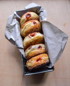 Donuts are a perfectly acceptable breakfast. Anyone telling you different hasn't tried these raspberry jam filled ones . 🍩🍩🍩 They are the perfect amount of fluff and generously filled! Doughnuts, Hot Dog Buns, Raspberry, French Toast, Food Photography, Food Porn, Bread, Breakfast, Sweet