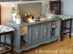 4 the love of wood: PIN-WORTHY WINE BAR - stereo cabinet makeover