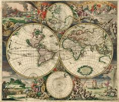 A decorative world map, with Antarctica, as well as parts of North America, still absent, was produced in Amsterdam in 1689. [Desktop]
