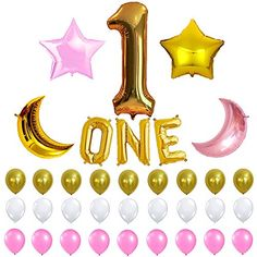 1st Birthday Party Balloon Decoration Kit, One Letter, Nu...