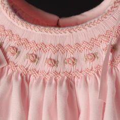 Feather stitch on the bias neckband adds extra special touch to the smocked bishop Smocking Baby, Smocking Plates, Smocking Patterns, Dress Patterns, Smocked Baby Clothes, Girls Smocked Dresses, Little Girl Dresses, Sewing For Kids, Baby Sewing