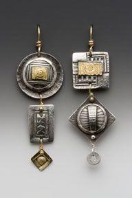 "Earrings, hand fabricated sterling silver,  14 karat & 22 karat gold  2"" x 1/2 ""  by Susan Brooks"