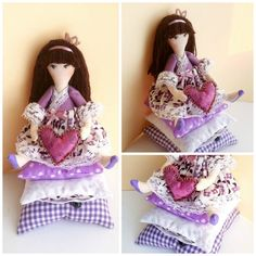 Tilda doll Little Princess and the Pea Handmade cloth doll in lilac dress little girl gifts fabric dolls for girls sister gift girl toys