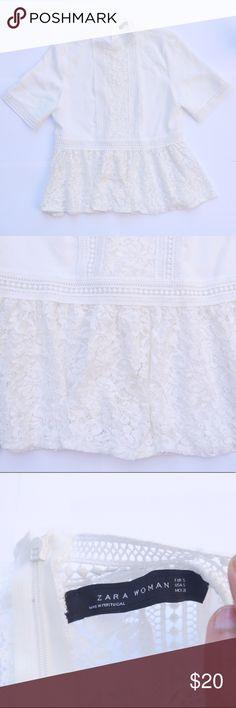 ZARA - NWOT white lace blouse Never worn, very stylish Zara Tops Blouses