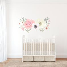 Large Boho Floral Wall Decal by GingerMonkey0 on Etsy