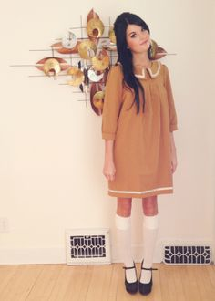 """""""Madeline"""" dress in mustard: Dear Creatures  White knee-high socks: Forever 21  Black wedges: Urban Outfitters    Oh So Lovely Vintage: outfits"""