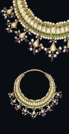 North India | Child's necklace ~ hasli ~ gold, diamonds, emeralds, pearls, turquoise enamel beads | ca. late 19th century | Est. 3'000 - 4'000£ ~ Oct '15