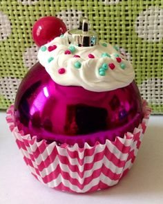 Hot Pink Chevron Cupcake Ornament READY TO SHIP by ThePoshShoppe, $6.00