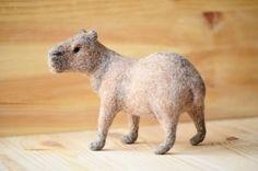 Capibara, felt sculpture, needle felted toy.