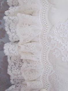 cream rose blush cream gold shabby chic style vintage- pretty enough to be on a wedding gown! Lace Ribbon, Lace Ruffle, Ruffles, White Lace Fabric, Floral Lace, Vintage Shabby Chic, Vintage Lace, Pearl And Lace, Romantic Lace