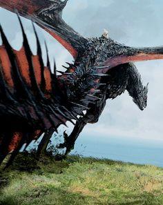 Drogon and daenerys targaryen Drogon Game Of Thrones, Arte Game Of Thrones, Game Of Thrones Dragons, Got Dragons, Mother Of Dragons, Fantasy Creatures, Mythical Creatures, Daenerys Targaryen, Khaleesi