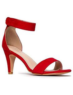 Add trendy appeal to your ensemble with the thick straps of this sandal that features extra lift for a dressed-up look. Red Sandals, Ankle Strap Sandals, Matte Red, Kitten Heels, Accessories, Clothes, Shoes, Jewelry, Women