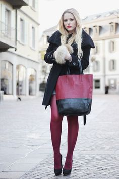 Colored tights look so pretty with a black peacoat!