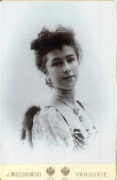 Mathilde Kschessinska. She would begin her notorious love life with Nicholas II before moving on the Grand Duke Sergei and Grand Duke Andrei. Eventually, after the revolution Grand Duke Andrei married her in 1921.