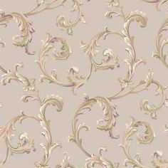 Pink and Taupe Scroll Wallpaper