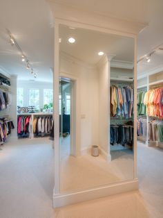 great closet, windows, track lighting, full mirror