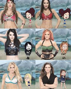 The gorgeous Wwe divas and the commissioner Stephanie McMahon longside wwe Camp characters. Paige Wwe, Stephanie Mcmahon, Wwe Roman Reigns, Wrestling Divas, Women's Wrestling, Wwe Lucha, Wwe Raw And Smackdown, Wwe Funny, Nikki Bella