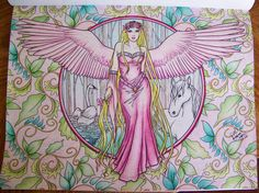 Collection (Fantasy Art Coloring by Selina Fenech). Angel in Pink, White Horse, Swan. Colored by Donna Leger with Prismacolor Scholar Pencils. #selinafenech