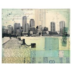 """Harborwalk No. 4 - framed 8"""" x 10"""" original Boston skyline mixed media... ($250) ❤ liked on Polyvore featuring home, home decor, wall art, backgrounds, art, pictures, building, collage, word wall art and framed picture"""