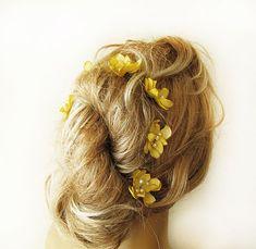 yellow  flower hair clip, wedding hair accessories,  bridal hair accessory,  wedding, bridal headpiece,Bridesmaid Hair