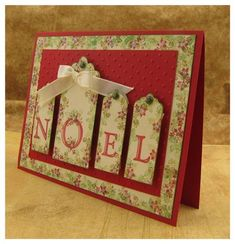 Noel Tag Card by Jolene Slack (I love the larger tag size for one letter. An inspired and fresh look for an classic layout. Stamped Christmas Cards, Homemade Christmas Cards, Christmas Cards To Make, Xmas Cards, Homemade Cards, Handmade Christmas, Holiday Cards, Ribbon Cards, Winter Cards