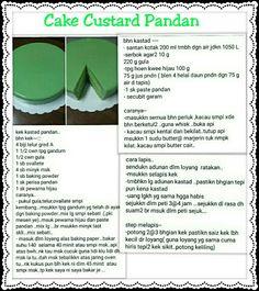 Cake Custard Pandan Resep Cake, Traditional Cakes, Custard, Brownies, Food And Drink, Sweets, Desserts, Recipes, Juice