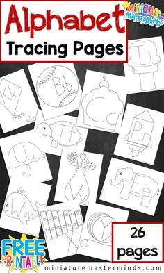 ALPHABET TRACING FUN Activity! 26 IMAGE AND LETTER TRACING PAGES For Toddlers, Preschool, and Kindergarten fine motor skill building.